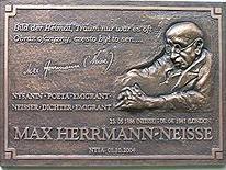 Gedenktafel in Neiße für Max Herrmann-Neiße.