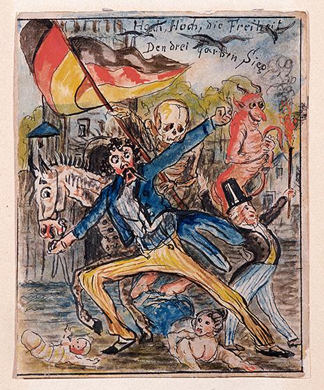 Unter schwarz-rot-goldener Fahne: Revolutionäre auf Kölner Straße. »Hoch, Hoch, die Freiheit. Den drei Farben Sieg«.
