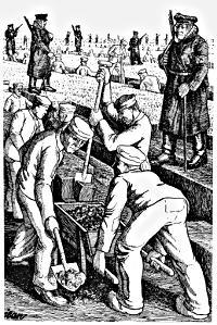 Zeichnung: KZ Börgermoor. Häftlinge beim Torfstechen.