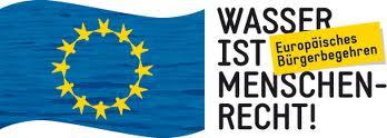 Logo mit EU-Fahne: »Wasser ist Menschenrecht! Europäisches Bürgerbegehren«.