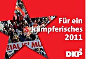Plakat. Auf rotem Untergrund Stern, darin Bild. Wunsch: Für ein kämpferisches 2011. DKP.